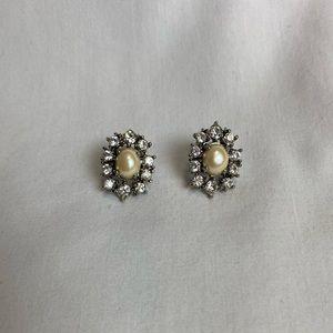 Ann Taylor Silver-Studded Pearl Earrings